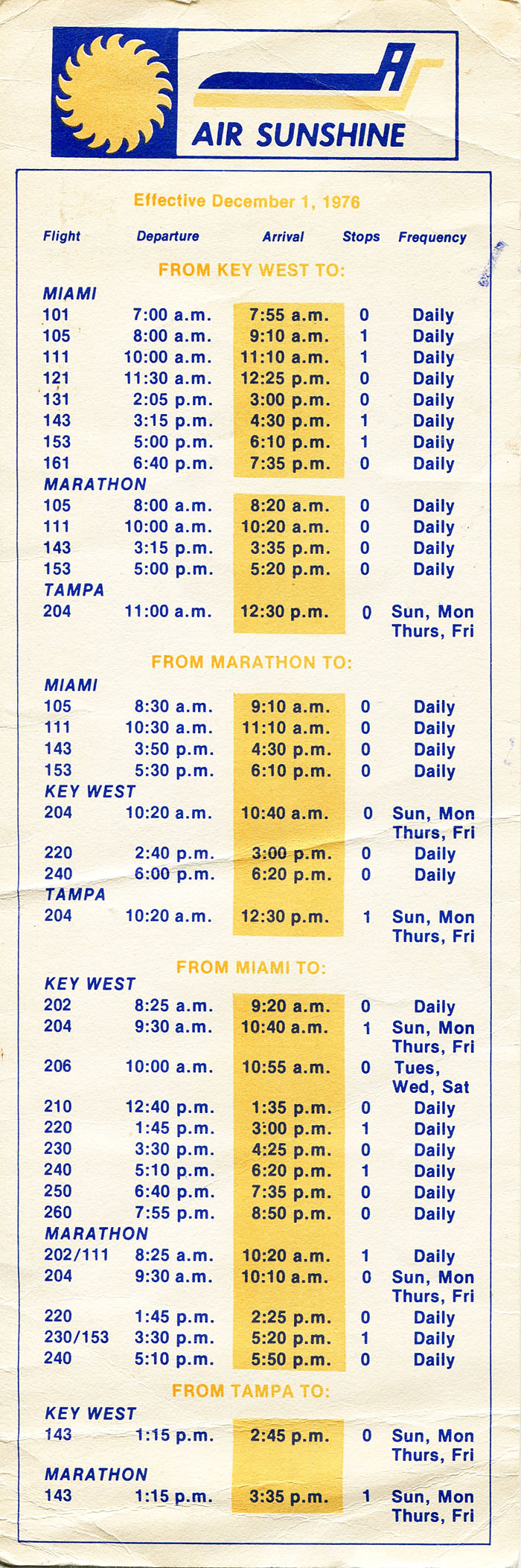 Air Sunshine timetable
