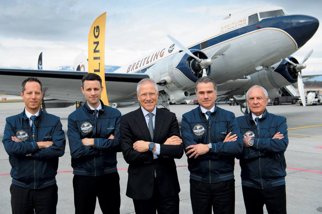 Jean-Paul Girardin, Vice-President of Breitling and the Breitling DC-3 crew standing in front of HB-IRJ shortly before commencing the World Tour in Geneva on March 9, 2017.