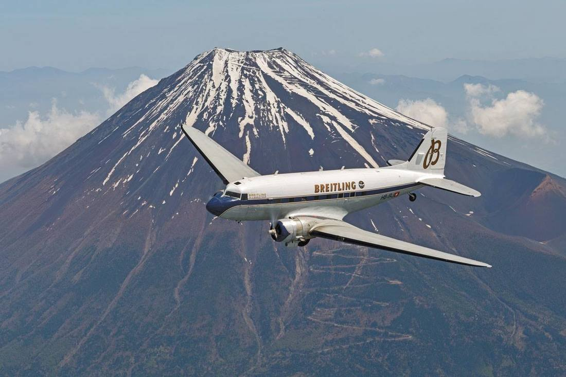 Breitling DC-3 over Mount Fuji.