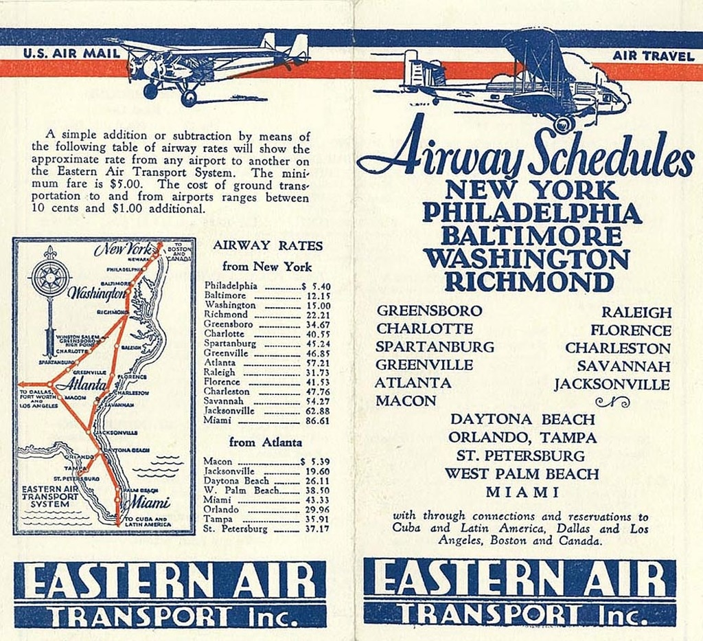 Eastern Air Transport timetable