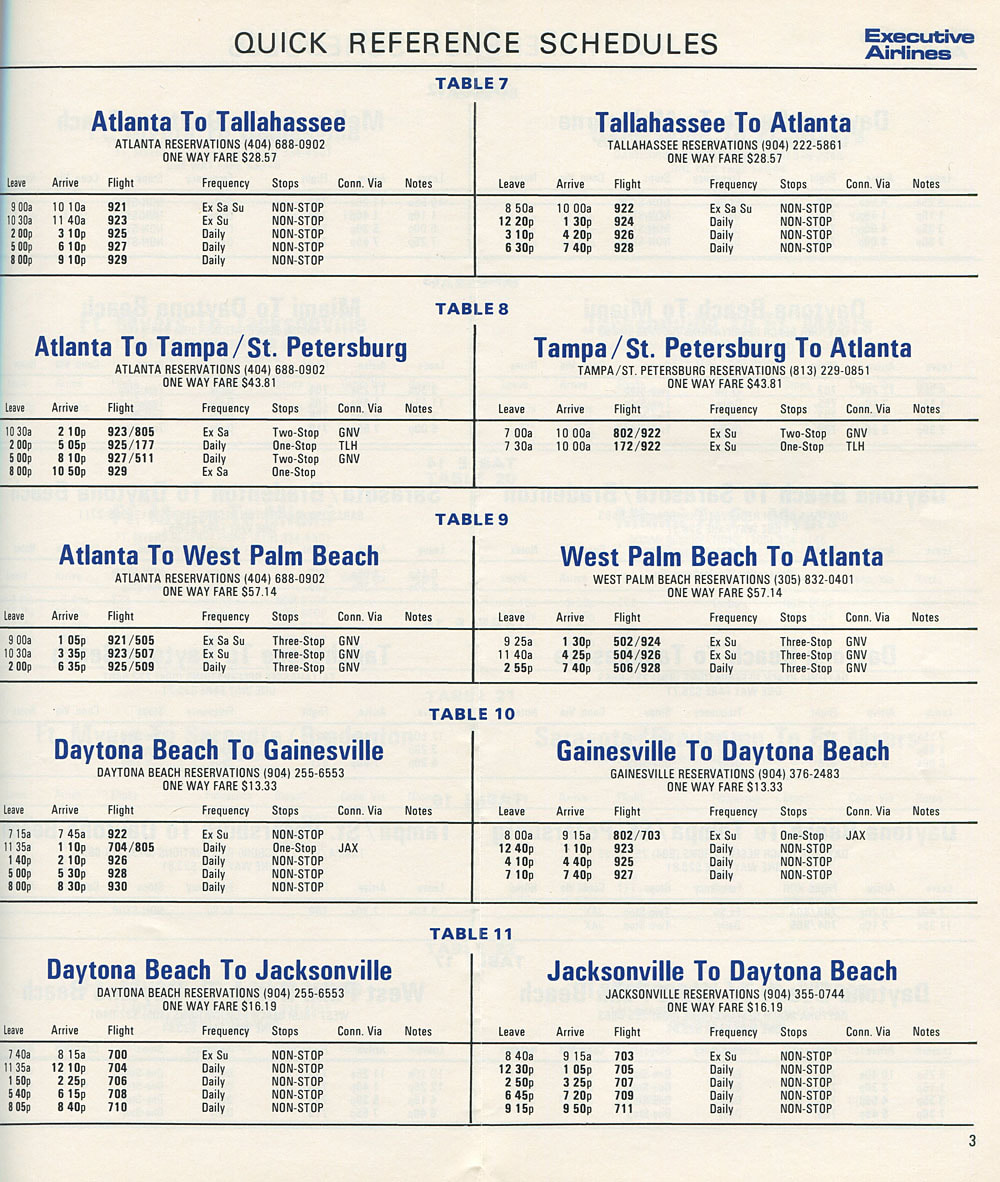 Executive Airlines timetable 1969
