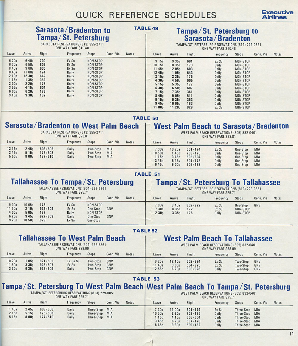 Executive Airlines timetable