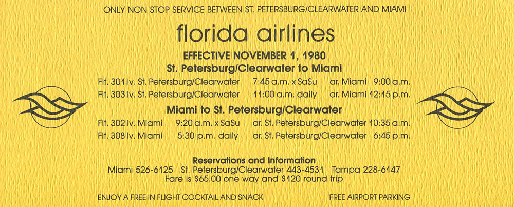 Florida Air Lines timetable