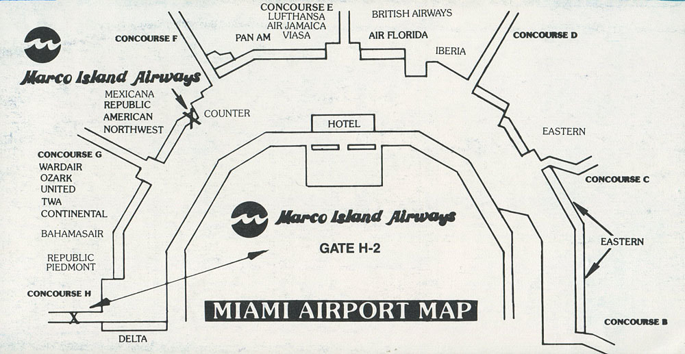 Marco Island Airways Miami International Airport terminal map from 1983