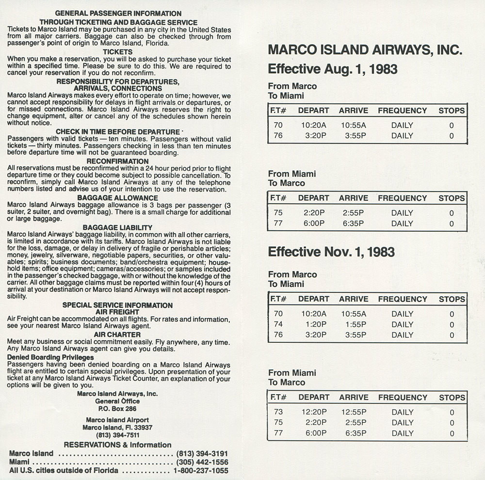 Marco Island Airways timetable