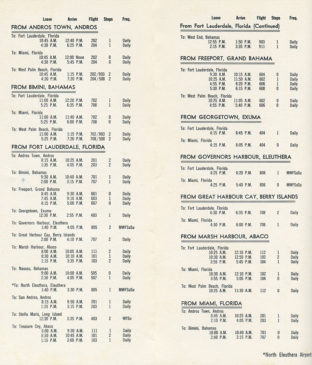 Mackey International Airlines timetable