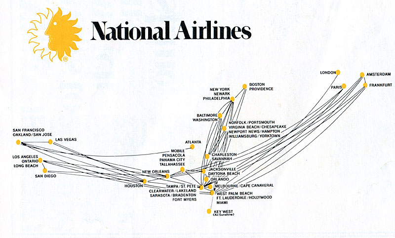National Airlines 1979 route map.