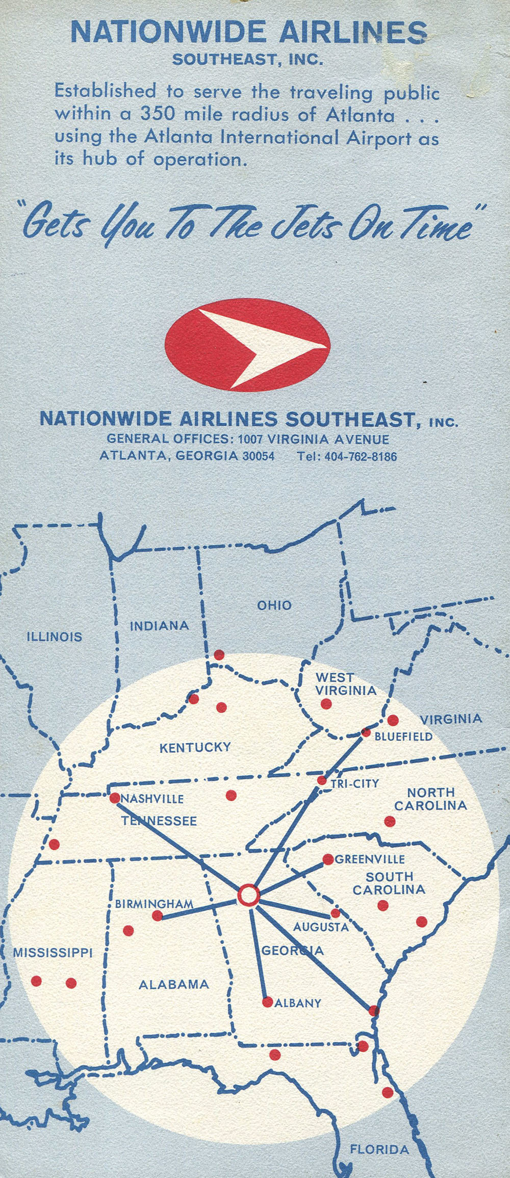 Nationwide Airlines Southeast route map