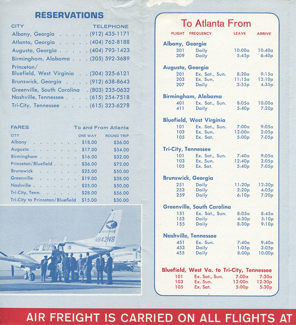 Nationwide Airlines Southeast timetable