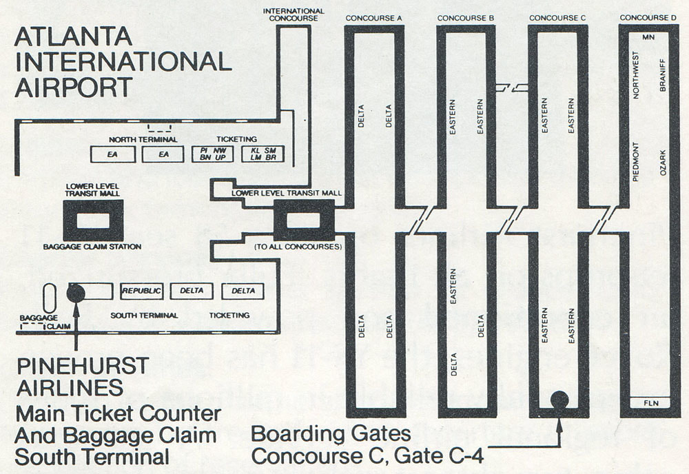 Pinehurst Airlines map of ATL.