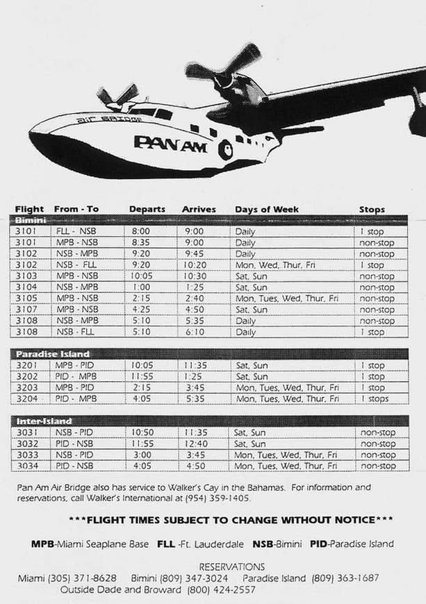 An undated Pan Am Air Bridge timetable (circa 1996-1998).
