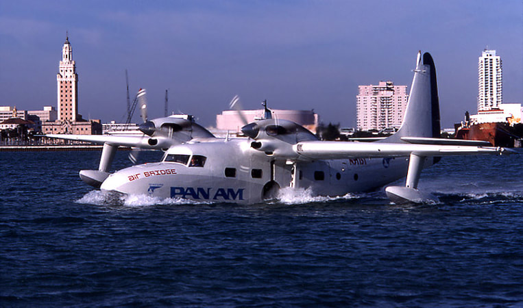Pan Am Air Bridge Grumman Turbo Mallard N51151 off of Watson Island in Miami.