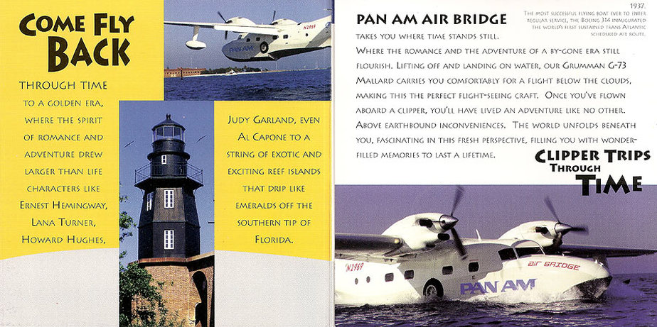 This is an excerpt from a Pan Am Air Bridge pamphlet advertising sightseeing flights to Dry Tortugas in the Florida Keys.