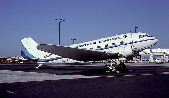 Eastern Express DC-3 N34PB at Miami.