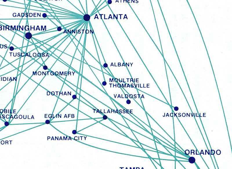 Republic Airlines route map detail.
