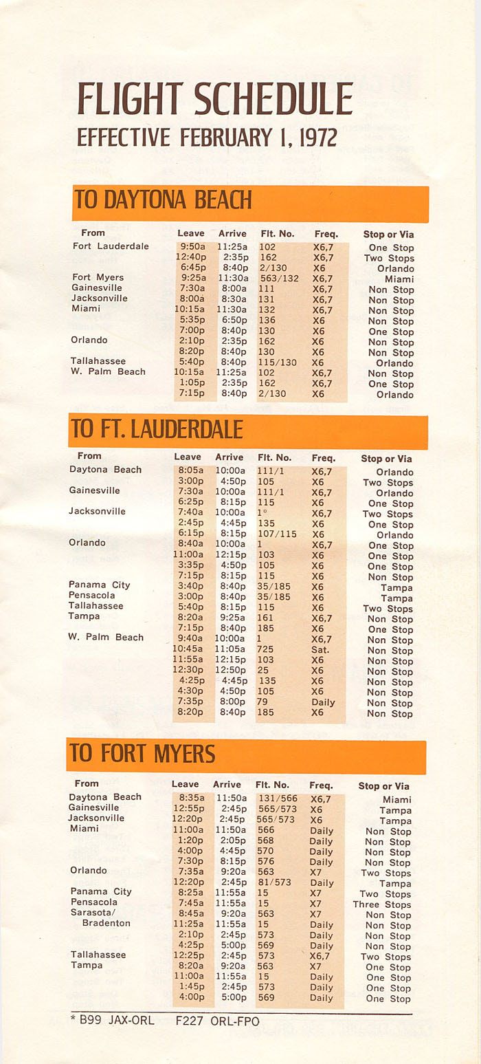 Shawnee Airlines timetable 1972