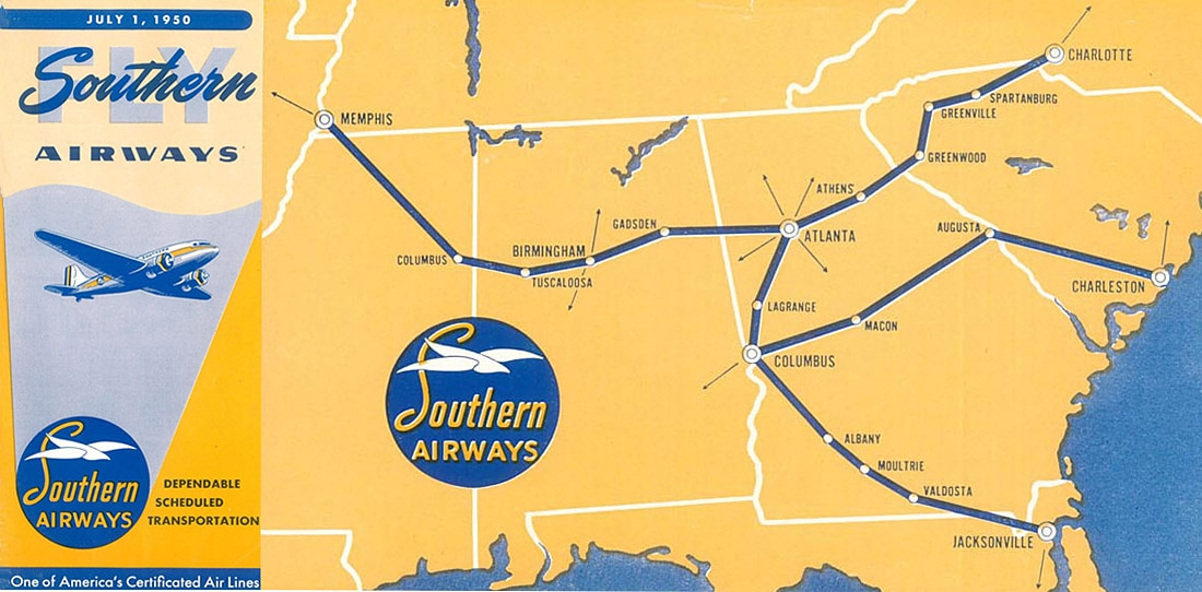 Southern Airways map 1950 DC-3