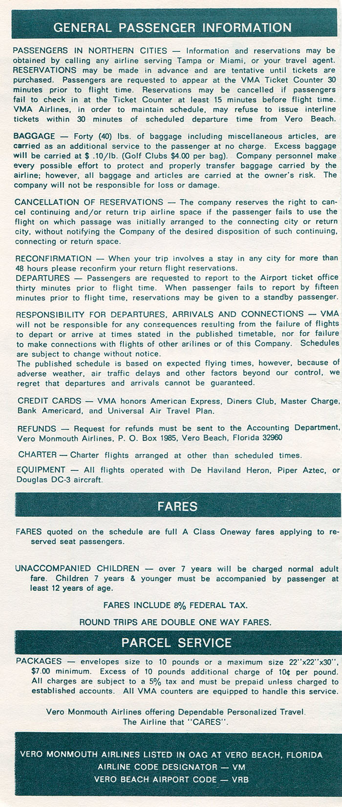 Vero Monmouth Airlines timetable
