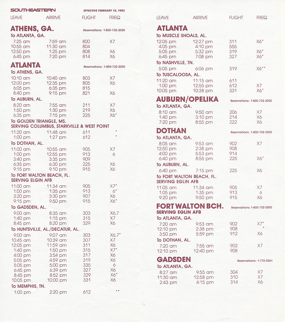 Southeastern Commuter Airlines timetable